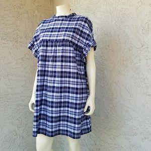 ASOS Plaid Ruffle Sleeve Cotton Tunic